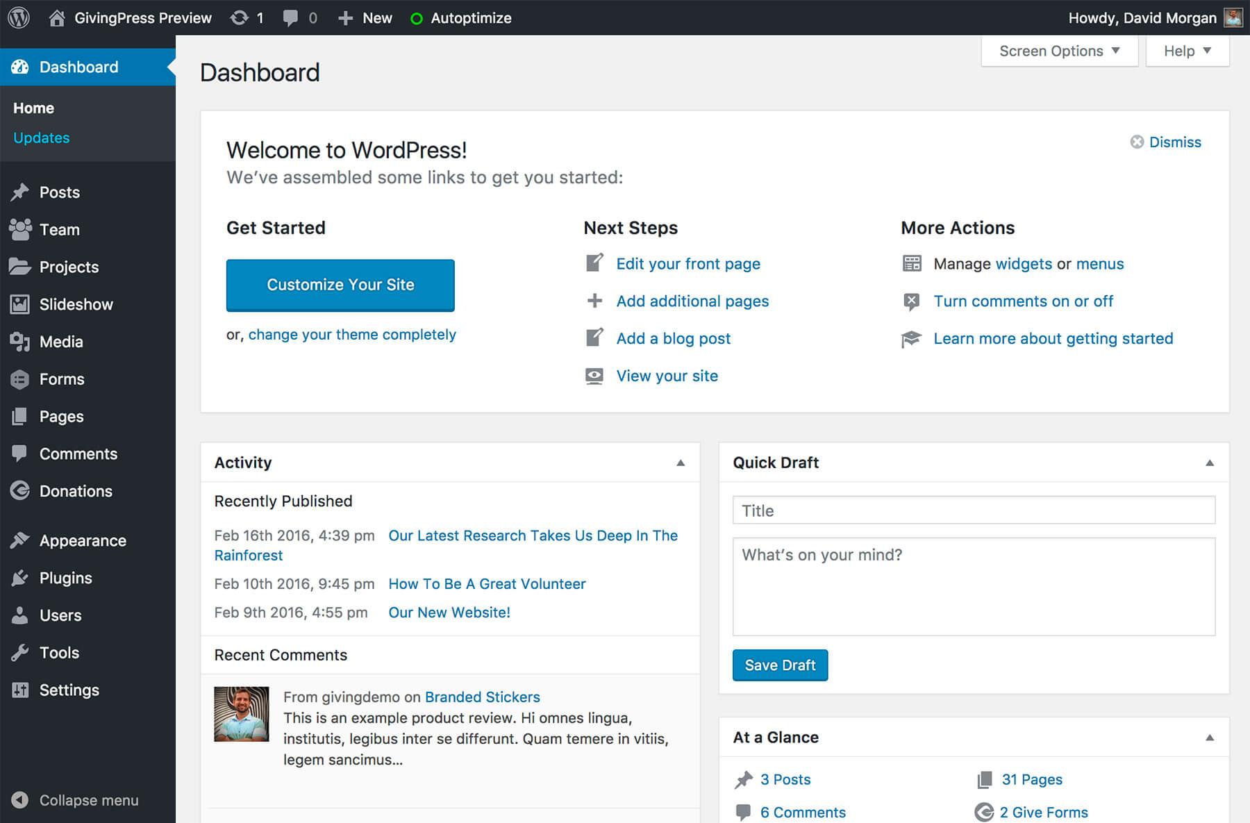 Удаляем лишние виджеты из консоли WordPress