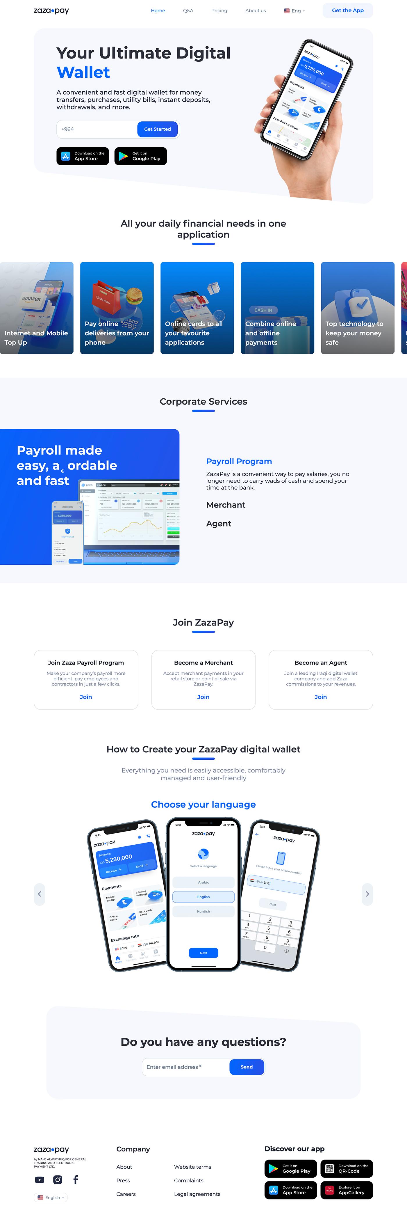 """Создание сайта для платежной системы """"ZazaPay"""""""
